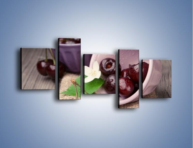 Obraz na płótnie – Wiśnie w małych pucharkach – pięcioczęściowy JN399W7