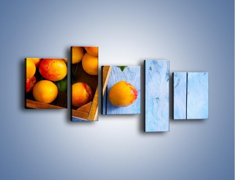 Obraz na płótnie – Brzoskwinie w drewnianej skrzyni – pięcioczęściowy JN404W7