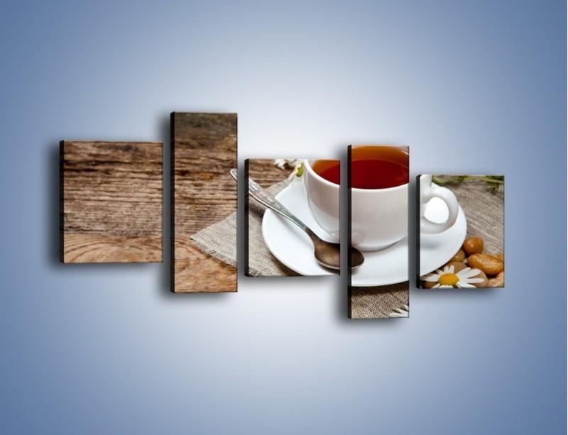 Obraz na płótnie – Herbata wśród stokrotek – pięcioczęściowy JN413W7