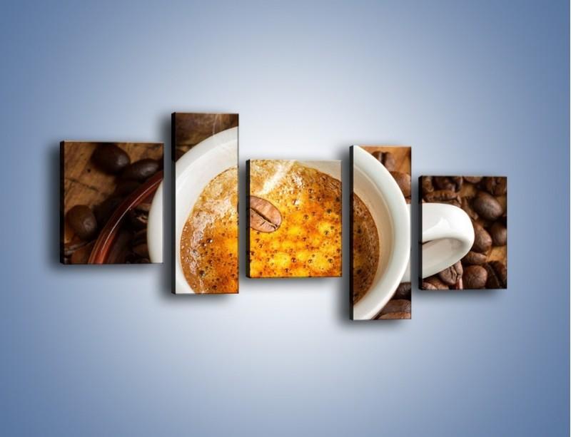 Obraz na płótnie – Ziarna zatopione w kawie – pięcioczęściowy JN416W7