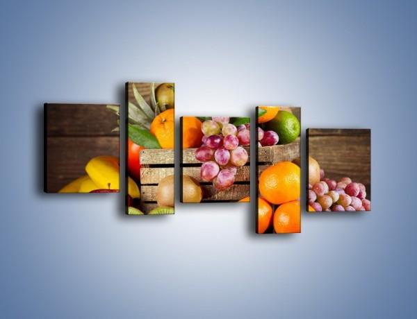 Obraz na płótnie – Skrzynia wypełniona owocami – pięcioczęściowy JN424W7