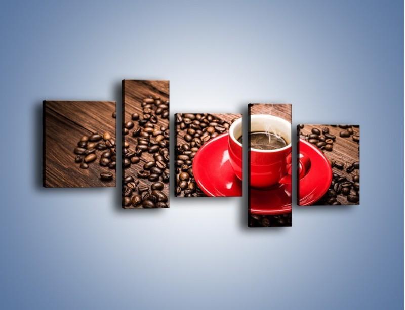 Obraz na płótnie – Kawa w czerwonej filiżance – pięcioczęściowy JN441W7