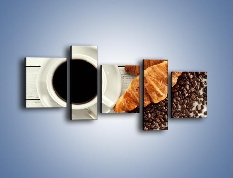 Obraz na płótnie – Kawa na białym stole – pięcioczęściowy JN462W7