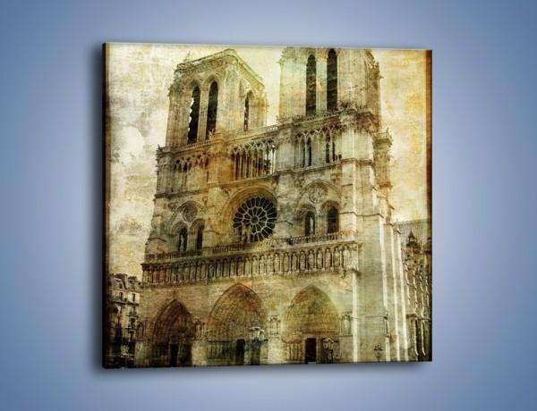 Obraz na płótnie – Katedra Notre-Dame w stylu vintage – jednoczęściowy kwadratowy AM232