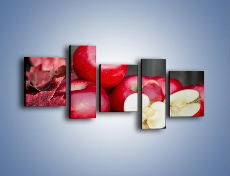 Obraz na płótnie – Czerwone jabłka późną jesienią – pięcioczęściowy JN619W7