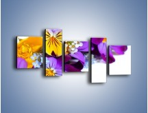 Obraz na płótnie – Ciepłe kolory w kwiatach – pięcioczęściowy K442W7