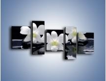Obraz na płótnie – Biel w kwiecie nocą – pięcioczęściowy K512W7