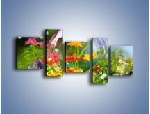 Obraz na płótnie – Bańkowy świat kwiatów – pięcioczęściowy K691W7