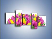 Obraz na płótnie – Bukiet fioletowo-żółtych tulipanów – pięcioczęściowy K778W7
