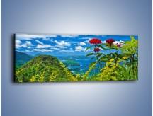 Obraz na płótnie – Bordowe kwiaty w górskim krajobrazie – jednoczęściowy panoramiczny KN561