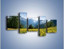 Obraz na płótnie – Łąka mleczy w górach – pięcioczęściowy KN008W7
