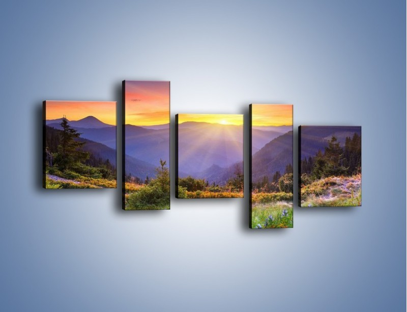 Obraz na płótnie – Góry o zachodzie słońca – pięcioczęściowy KN014W7