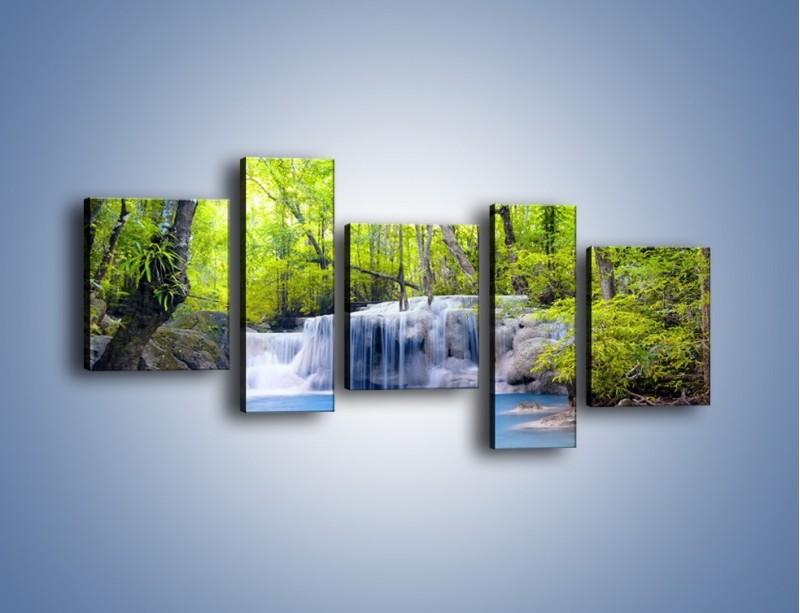 Obraz na płótnie – Mały leśny wodospad – pięcioczęściowy KN057W7