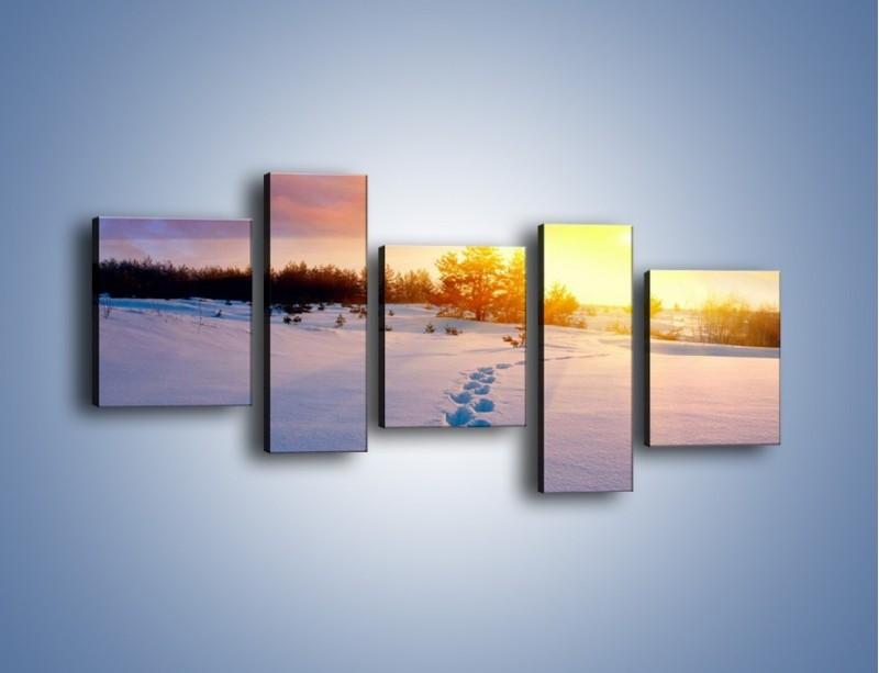 Obraz na płótnie – Ślady na śnieżnym puchu – pięcioczęściowy KN1015W7
