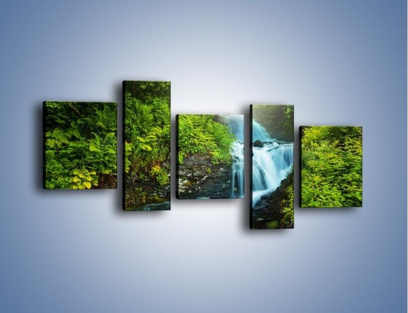 Obraz na płótnie – Spływ wodny i zieleń – pięcioczęściowy KN1069W7