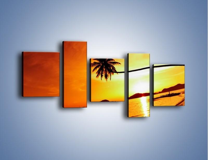 Obraz na płótnie – Palma o zachodzie słońca – pięcioczęściowy KN1077W7