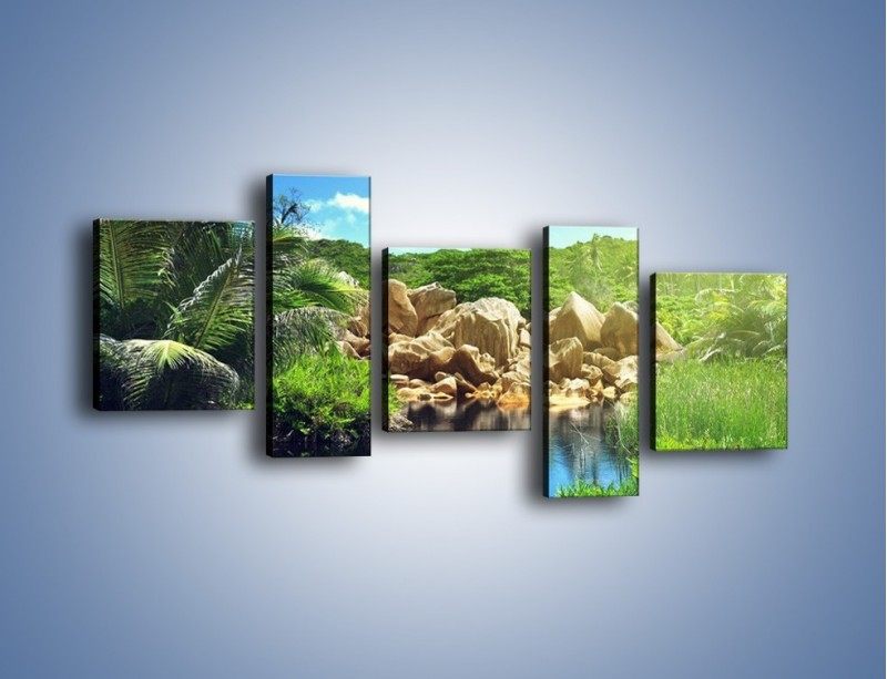 Obraz na płótnie – Bogata roślinność nad wodą – pięcioczęściowy KN1082AW7