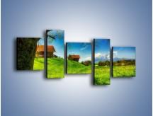 Obraz na płótnie – Chatki na polanie – pięcioczęściowy KN1085AW7