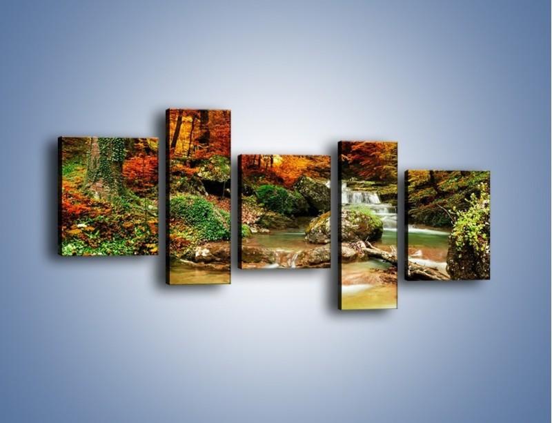 Obraz na płótnie – Jesienne kolory w lesie – pięcioczęściowy KN1094AW7