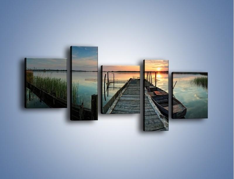 Obraz na płótnie – Stary most i łódź – pięcioczęściowy KN1096AW7