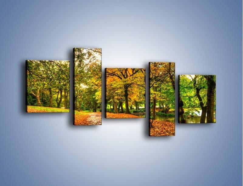Obraz na płótnie – Piękna jesień w parku – pięcioczęściowy KN1098AW7