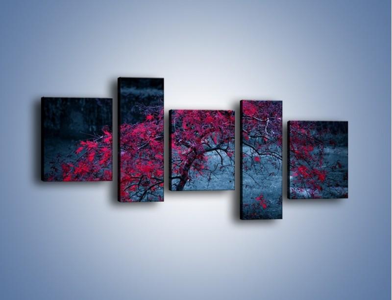 Obraz na płótnie – Czerwone płaczące drzewo – pięcioczęściowy KN1101AW7