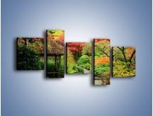 Obraz na płótnie – Alejka między kolorowymi drzewami – pięcioczęściowy KN1113W7