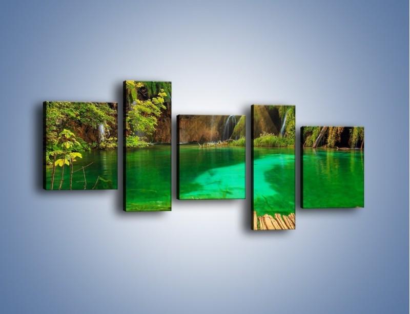 Obraz na płótnie – Zielone oczko wodne i drewno – pięcioczęściowy KN1149AW7