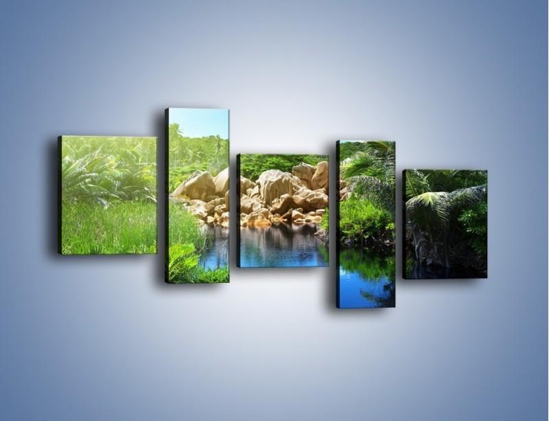 Obraz na płótnie – Wapienne skałki na wodzie – pięcioczęściowy KN1188AW7