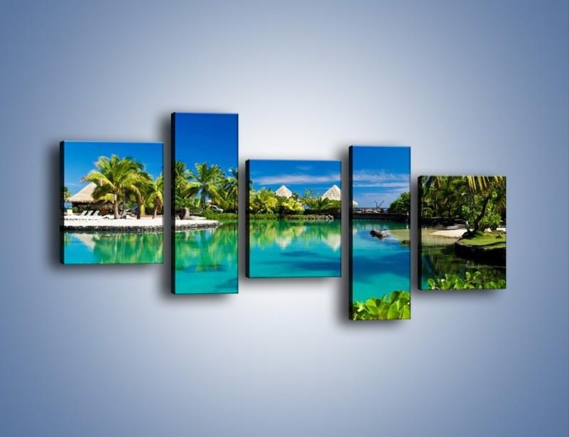 Obraz na płótnie – Biały piasek i palmy – pięcioczęściowy KN1201AW7