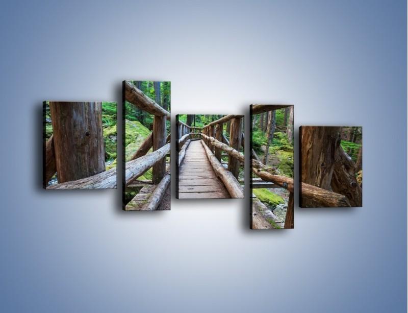 Obraz na płótnie – Mostek z drewnianych bali – pięcioczęściowy KN1207AW7