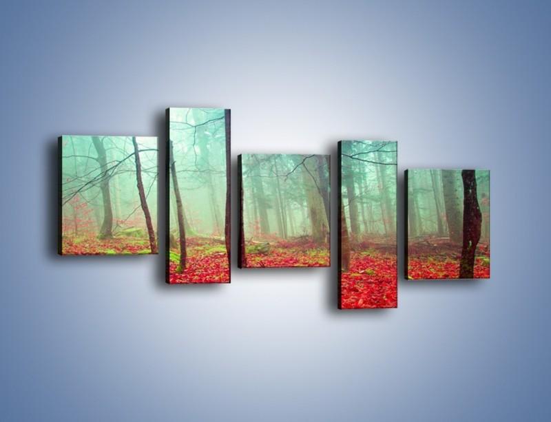 Obraz na płótnie – Drzewka na czerwonym dywanie – pięcioczęściowy KN1222AW7