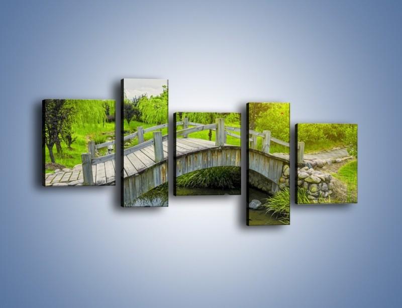 Obraz na płótnie – Mały mostek przez rzeczkę – pięcioczęściowy KN1254AW7