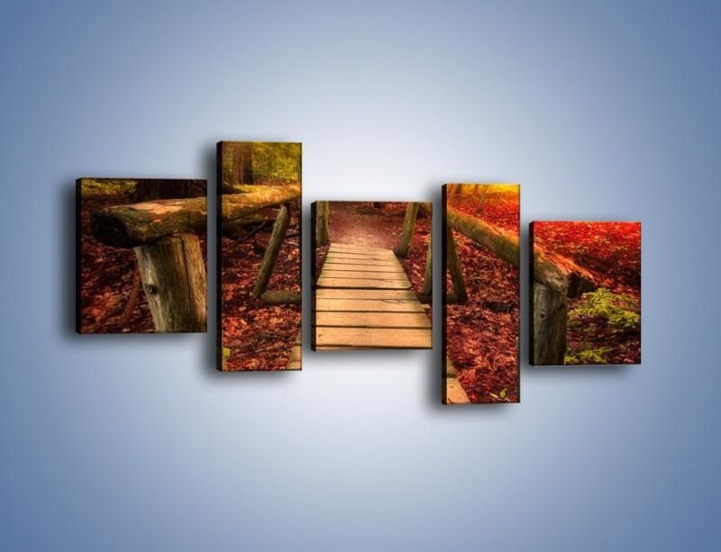 Obraz na płótnie – Krótkie przejście przez las – pięcioczęściowy KN1330AW7
