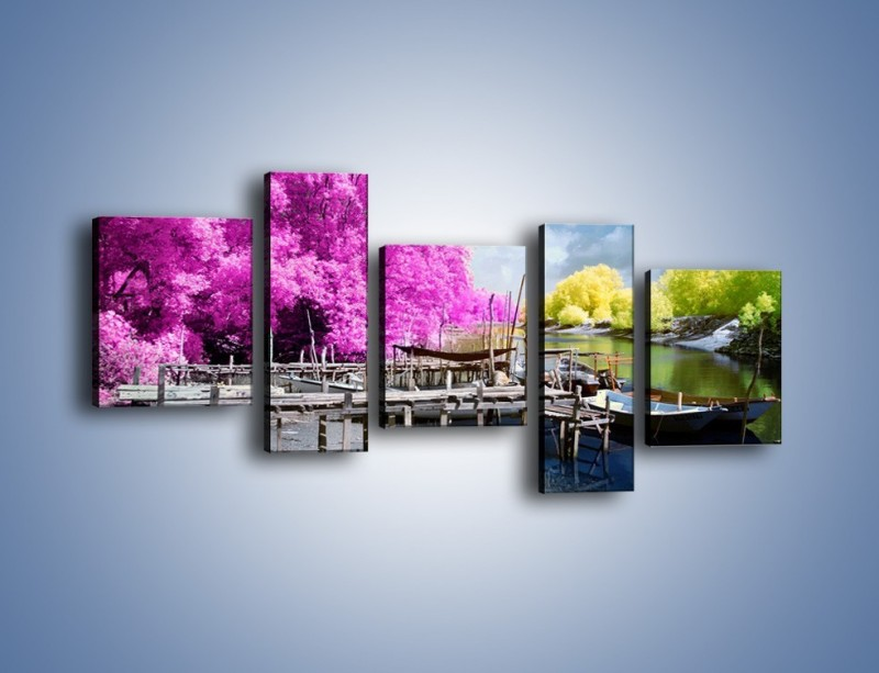 Obraz na płótnie – Wyraźne kolory w szarym tle – pięcioczęściowy KN1334AW7