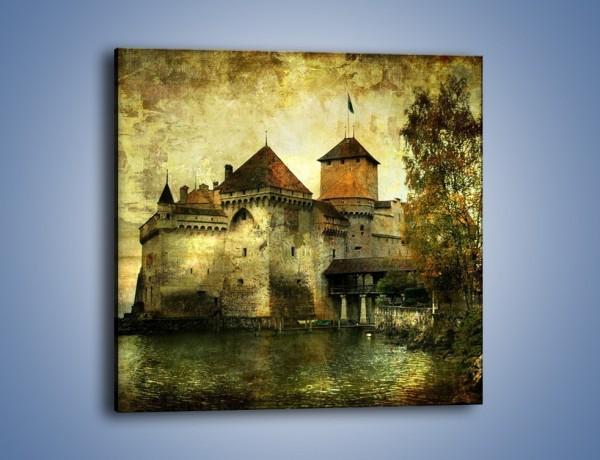 Obraz na płótnie – Średniowieczny zamek w stylu vintage – jednoczęściowy kwadratowy AM233