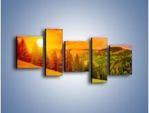 Obraz na płótnie – Zachód słońca za drzewami – pięcioczęściowy KN150W7