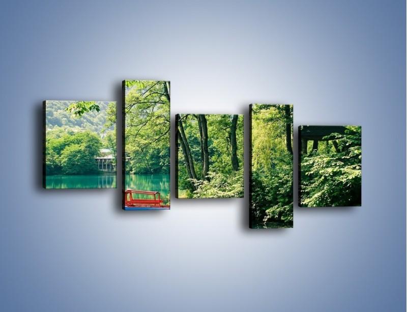 Obraz na płótnie – Wakacje nad jeziorem – pięcioczęściowy KN155W7