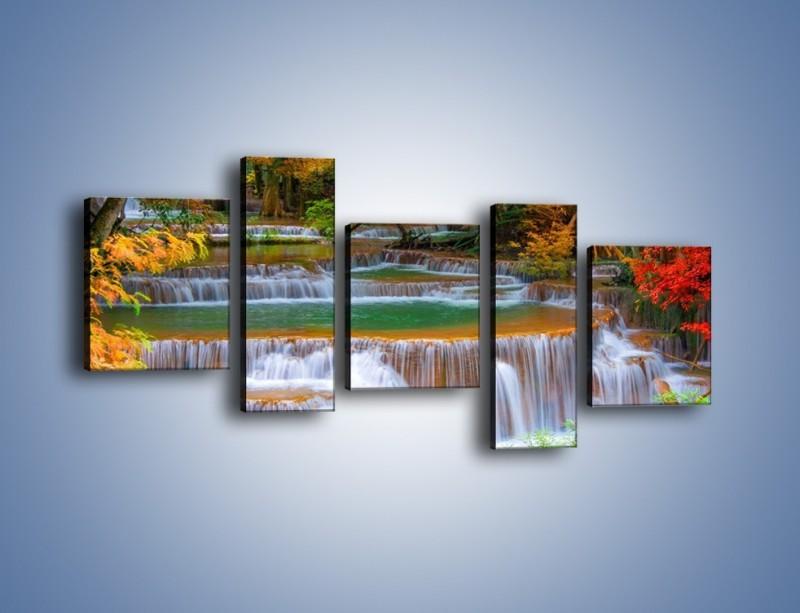 Obraz na płótnie – Schodki z wodospadów – pięcioczęściowy KN287W7