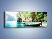 Obraz na płótnie – Łódeczka przy roślinnym klifie – jednoczęściowy panoramiczny KN582