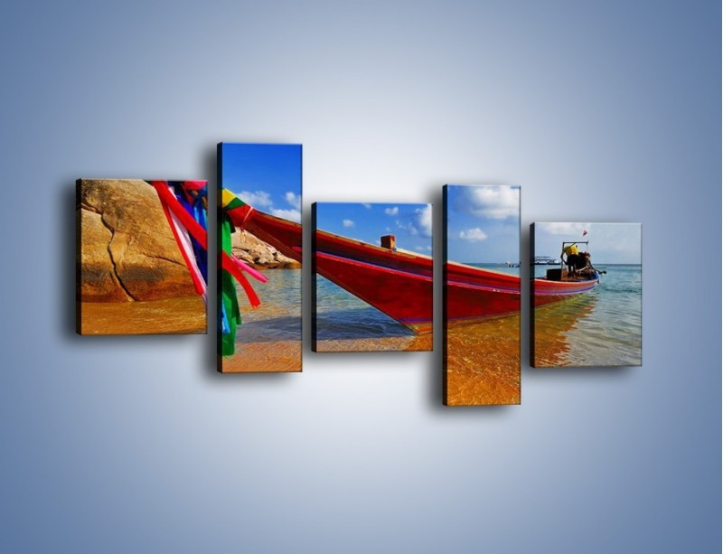 Obraz na płótnie – Kolorowa łódź na brzegu – pięcioczęściowy KN415W7