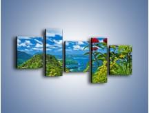 Obraz na płótnie – Bordowe kwiaty w górskim krajobrazie – pięcioczęściowy KN561W7