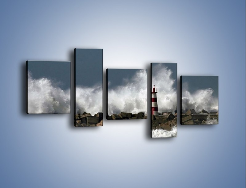 Obraz na płótnie – Latarnia morska w sztormie – pięcioczęściowy KN626W7