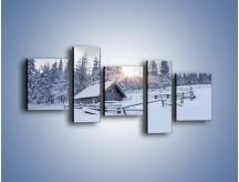 Obraz na płótnie – Chatka zatopiona w śniegu – pięcioczęściowy KN696W7