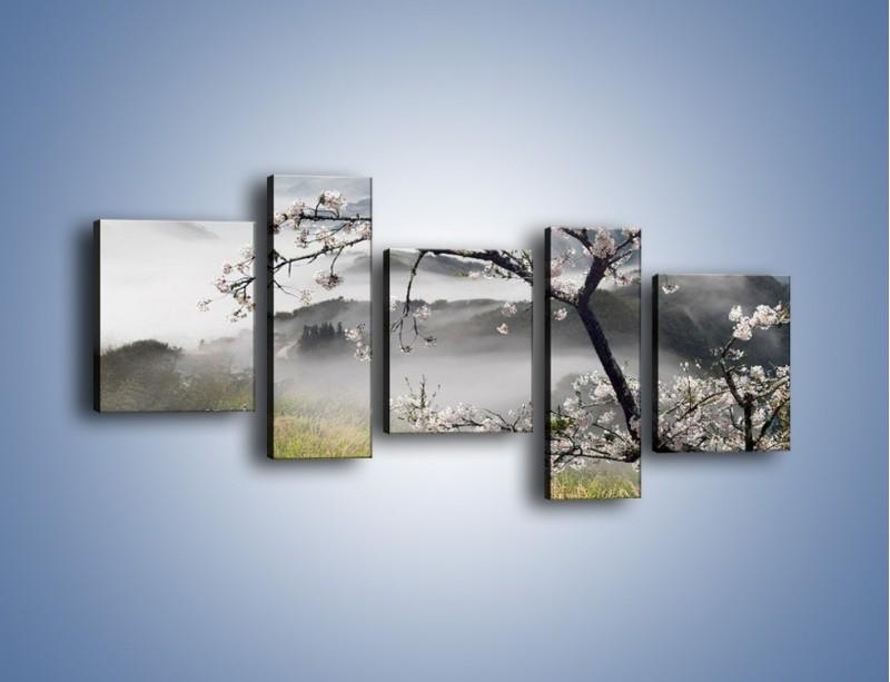 Obraz na płótnie – Drzewo wiśni i kręte schody – pięcioczęściowy KN698W7
