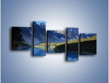 Obraz na płótnie – Wodne lustro i góry – pięcioczęściowy KN731W7