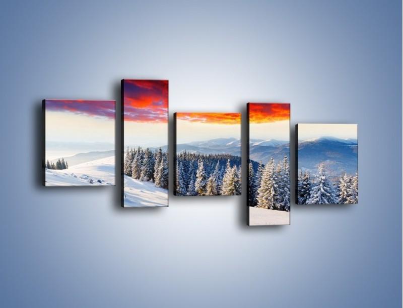Obraz na płótnie – Cały urok gór zimą – pięcioczęściowy KN805W7