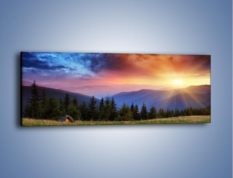 Obraz na płótnie – Wyjazd pod namioty – jednoczęściowy panoramiczny KN585