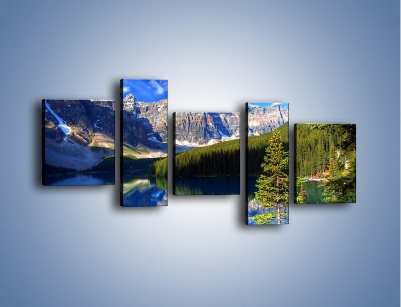 Obraz na płótnie – Góry i ich wodne odbicie – pięcioczęściowy KN839W7