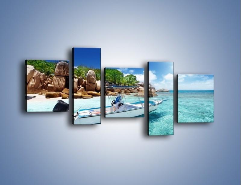 Obraz na płótnie – Błękit w wodzie i niebie – pięcioczęściowy KN852W7